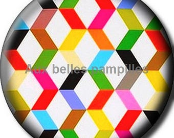 Round cabochon resin 25 mm - Zig glue (1806) - pattern, geometric, colorful