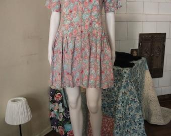 Vintage 90s 1990s floral mini dress flower ditsy floral