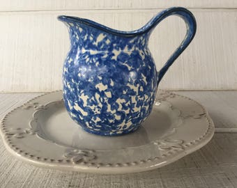 Vintage Stangl Blue Spongeware Town  Country Water Juice Pitcher Hand Painted blue white pitcher mid century beverage pitcher replacements