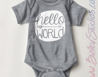 Hello World Newborn Baby One Piece, Birth Announcement, Coming Home Outfit, Personalized Baby Shower Gift, Gender Neutral Infant Clothes
