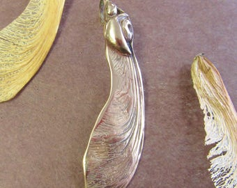 Protecting the Seed, seed pod pendant, maple wings, maple tree, bronze pendant, samara seed, nature jewelry