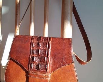 Brown leather shoulder bag Vintage shoulder bag boho purse steampunk accessories 70s shoulder bag