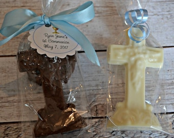 Chocolate Cross Favor for Baptisms, Christenings, Communions - First Communion Favor - Baptism Favor - Christening Favor - Chocolate Cross