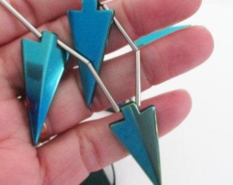 Metallic Teal Blue Arrow Pendant - Hematite Arrowhead Pendant - Long Hematite Arrow Spear Bead - Top Drilled - 5 PCS - Diy Boho Punk Jewelry