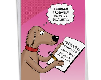 C4520NYG Dog Resolutions: Humor New Year Card, with Envelope.