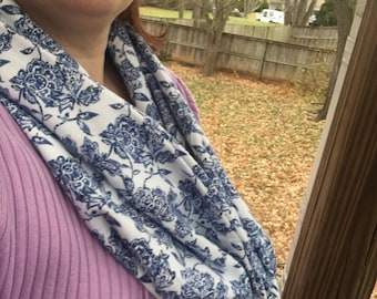 Blue and White Floral Infinity Scarf