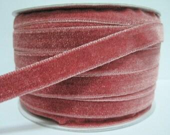 """5 yards 1/2"""" Rose Pink Velvet Ribbon, Pink Velvet Ribbon, Ribbon lot, Wholesale Ribbon, Pink Velvet trim, Rose Pink velvet ribbon, pink"""