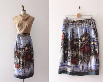 CLEARANCE vintage novelty skirt // scenic print novelty skirt