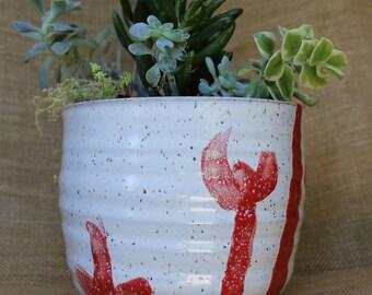 Wheel thrown wide utensil holder, speckled stoneware succulent planter