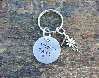 Mom's Taxi hand stamped keychain