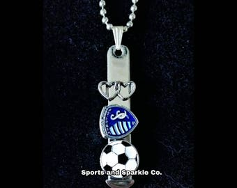 Sporting Soccer Charm Bar Necklace