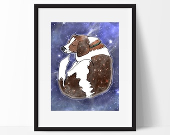 Sleeping Space Beagle Art Print, Dog Illustration, Nursery Art, 10x13 Poster, Galaxy Art Print