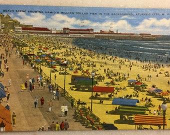 Vintage N J  Postcard Atlantic City New Jersey Hamid's Million Dollar Pier & Beach 1947 Steel Pier AC Postcard