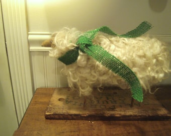 Primitive Folk Art Mohair Sheep
