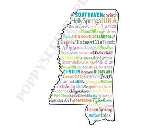 Mississippi folded note cards, Cities in Mississippi stationery, Mississippi thank you notes