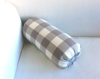 "Bolster 14"" lumbar accent throw pillow gray/cream check"