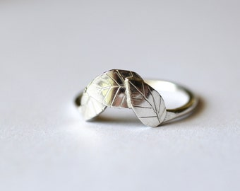 Recycled Silver Hand-Carved Leaf Ring