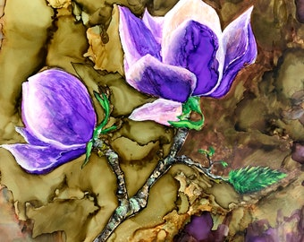 Purple Magnolia: Fine Art Print from alcohol ink painting