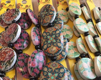 Destash Beads - Floral Wooden Beads - Six Strands of Colorful Wooden Flower Print Beads