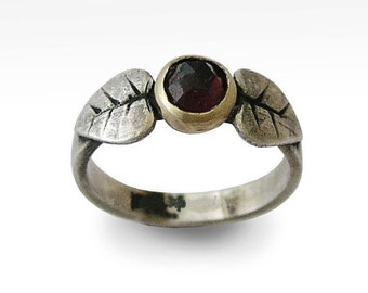Garnet ring, twotone ring, woodland silver ring, Sterling Silver Leaves ring, yellow gold leaves ring, gemstone ring - Tender kiss R1335