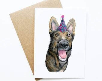 German Shepherd / Birthday Card / German Shepherd Gift / Birthday card boyfriend / German Shepherd Art / dog cards / pet portrait