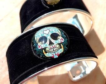 Tête de mort CALAVERA cuir/métal bracelet jonc