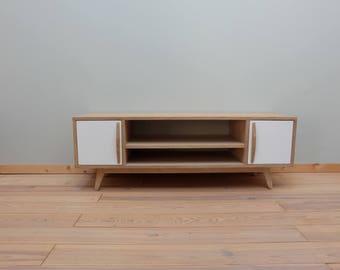 Scandinavian tv cabinet in oak and white