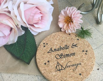 Personalized Wedding Cork Coasters, Wedding Favors, Always