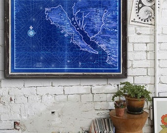 """Map of California as Island 1650, Historical California map, 5 sizes up to 54x36"""" California poster also in blue - Limited Edition of 100"""