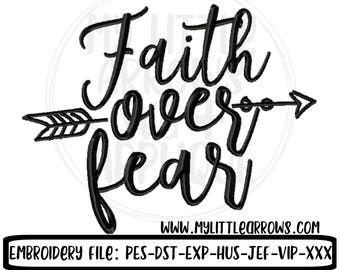 Faith over fear embroidery 4x4 5x7 6x10 8x8 - scripture embroidery - faith embroidery - cancer survivor embroidery