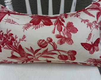 Red Toile Pillow , red and cream pillow, pillow with birds, lumbar pillow - 12 x 20