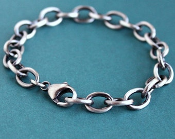 Mens Large Link Cable Chain Bracelet, Men's Sterling Silver Chain Bracelet