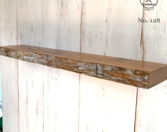 """34"""" Hand-Hewn Reclaimed Wood Antique Old Growth Oak Floating Shelf, Distressed White Face (Shelf No. 128)"""