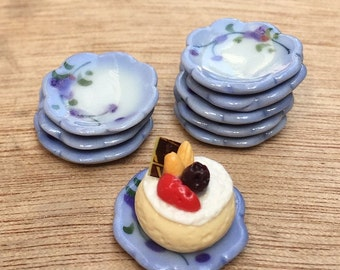 5pcs.Miniature Plate,Miniature Tray,Miniature Ceramic Plate,Miniature Ceramic Tray Miniature food,Doll's House plate,Dollhouse tray