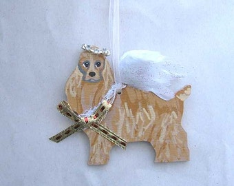 Hand-Painted COCKER SPANIEL Feathered Wing Angel Wood Ornament...Artist Original