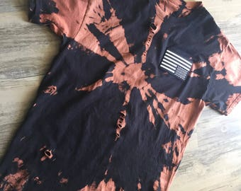 Black and White American Flag T-Shirt // Hand Tie Dyed // Hand Bleached // Hand Thrashed // Custom Made