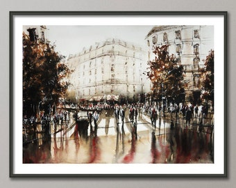 Paris Painting, Watercolor street, Poster France, Giclee print , Modern wall art
