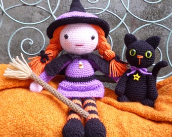 Morgana & Soots, Witch and Cat Dolls - Amigurumi Crochet Pattern