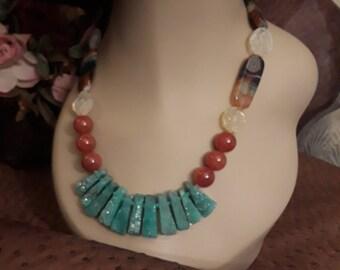 Jasper, Druzy teardrops, moonstone and carnelian one strand necklace