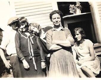 "Vintage Snapshot ""Behind Mother's Back"" Teenagers Mug For The Camera Found Vernacular Photo"