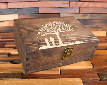 Wood Memory Box, Rustic Wooden Keepsake Box, Personalized Engraved Gift Box, Wedding Memory Chest, Jewelry or Photo Box, Couple's Custom Box