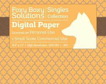 Moroccan Pattern on Kraft Digital Paper - Single Sheet in Yellow - Printable Scrapbooking Paper