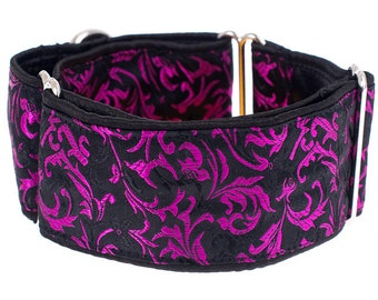 1,5 inch Martingale collar, 1.5 inch, black purple martingale  collar, greyhound collar, martingale collar,collars,dogs collars,martingales