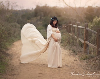 Champagne Lining Chiffon-Lace Maternity Gown with Shawl Chiffon Gown/Maternity Photo Props/Birdal Gown/Wedding Gown/Maternity Dress/Senior p