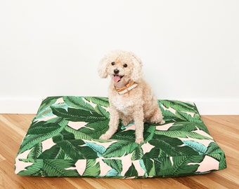 Pink Palm Frond Dog Bed // Quick Ship // Large