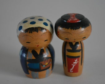Pair of kokeshi dolls, miniature, vintage Japanese #5
