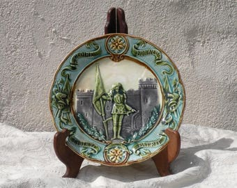 French antique plate Jeanne of Arc, majolica plate, Barbotine plate, antique wall plate, French wall plate, wall decor decorative plate