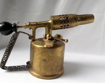 Copper yellow old torch / blowtorch / torch / 1930 / Vesta Paris / old tool / old rustic décor / folk art