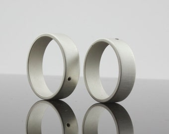 Black Diamond Rings - Set of Two Rings - Matte Finish Sterling Silver - Wide Band Rings - 6 mm - Matching Wedding Bands