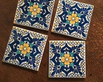 Ceramic Tile Coasters - Talavera Style 022